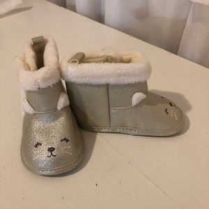 Silvery gold cat boots
